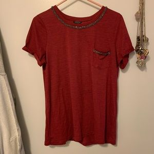 Torrid Size 0 Red Tee with Embellished neckline